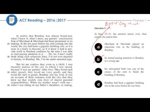 Reading Passage 1: 2016-2017 ACT Practice Test