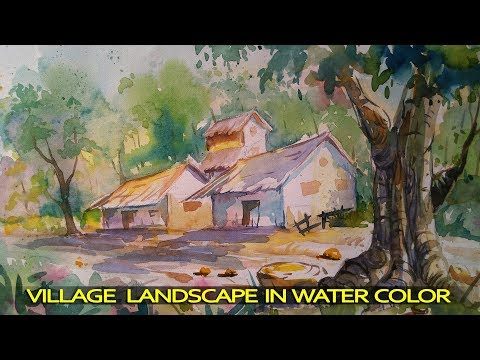 Simple Watercolor Landscape Painting for Beginners | Paint with water colors