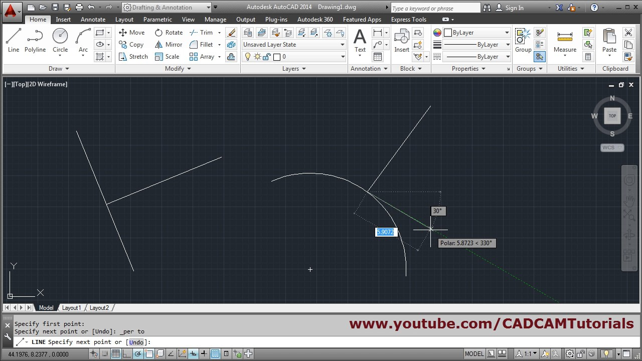 Line Drawing In Autocad : Autocad draw line perpendicular to another or curve