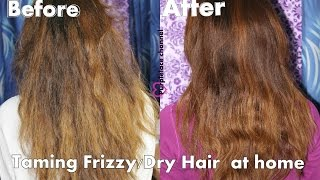 How to tame frizzy hair / Hot oil treatment for frizzy/dry hair