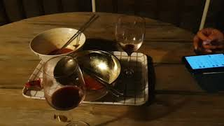 황강마루산 저녁식사 .국수와 복분자엑기스와 개구리소리