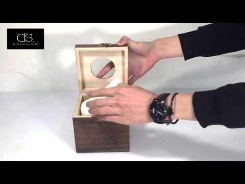 Retro Cube Wooden Tissue Box Holder - Brown