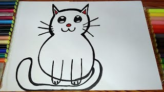 easy cat drawing for kids | play learn paint