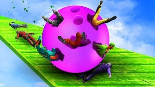 GIANT BOWLING BALL DESTRUCTION! (GTA 5 Funny Moments)
