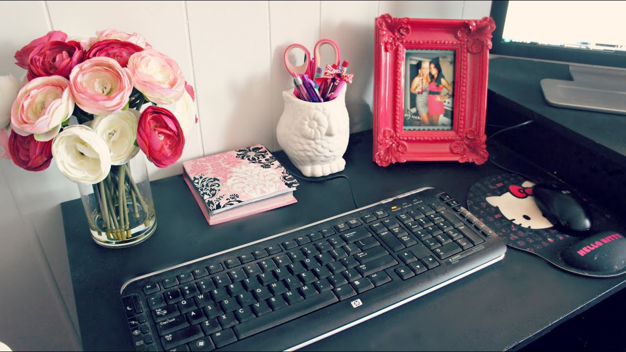 Room decor office desk space tour and ideas youtube for How to decorate office desk