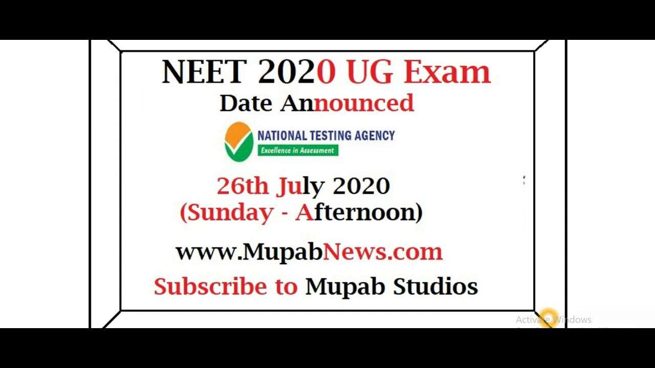 NEET UG 2020 Exam Date Announced @ntaneet.nic.in on 26th July 2020