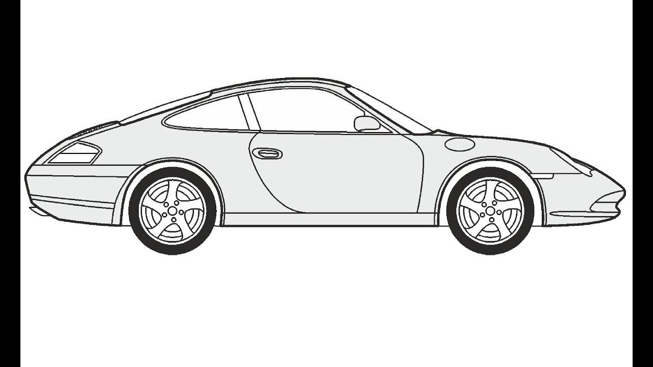 How to Draw a Porsche Carrera / Как нарисовать Porsche
