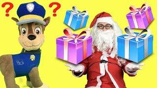 Patrulla canina: Navidad con Papá Noel. Santa Claus y bebés de paw patrol con regalos para niños