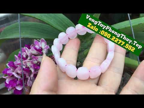 Vòng Tay Phong Thủy Mệnh Hỏa - Vòng Tay nữ đá thạch anh hồng khối giá chỉ 300k/ vòng