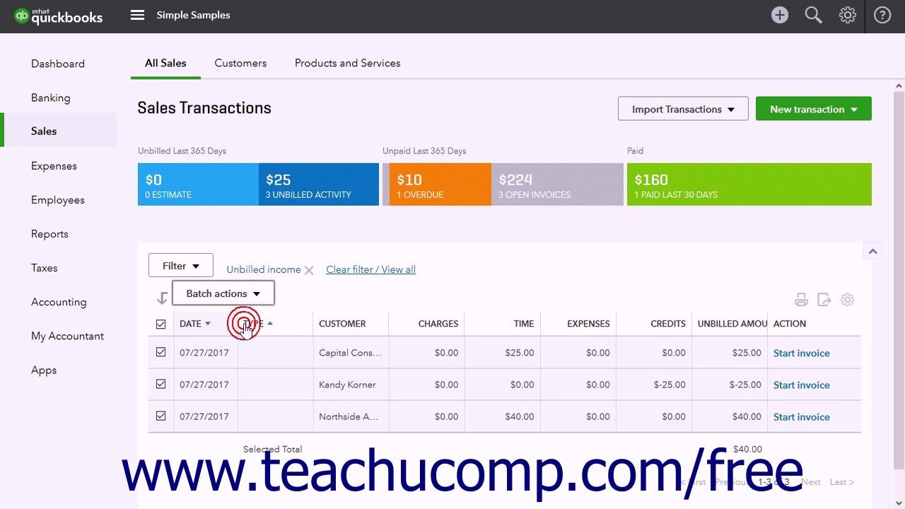 QuickBooks Online Plus Tutorial Creating Batch Invoices Intuit - Intuit invoicing online