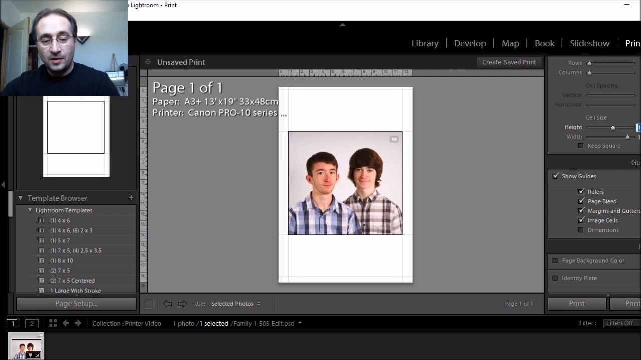 printing an 11x14 print on 13x19 paper within lightroom youtube