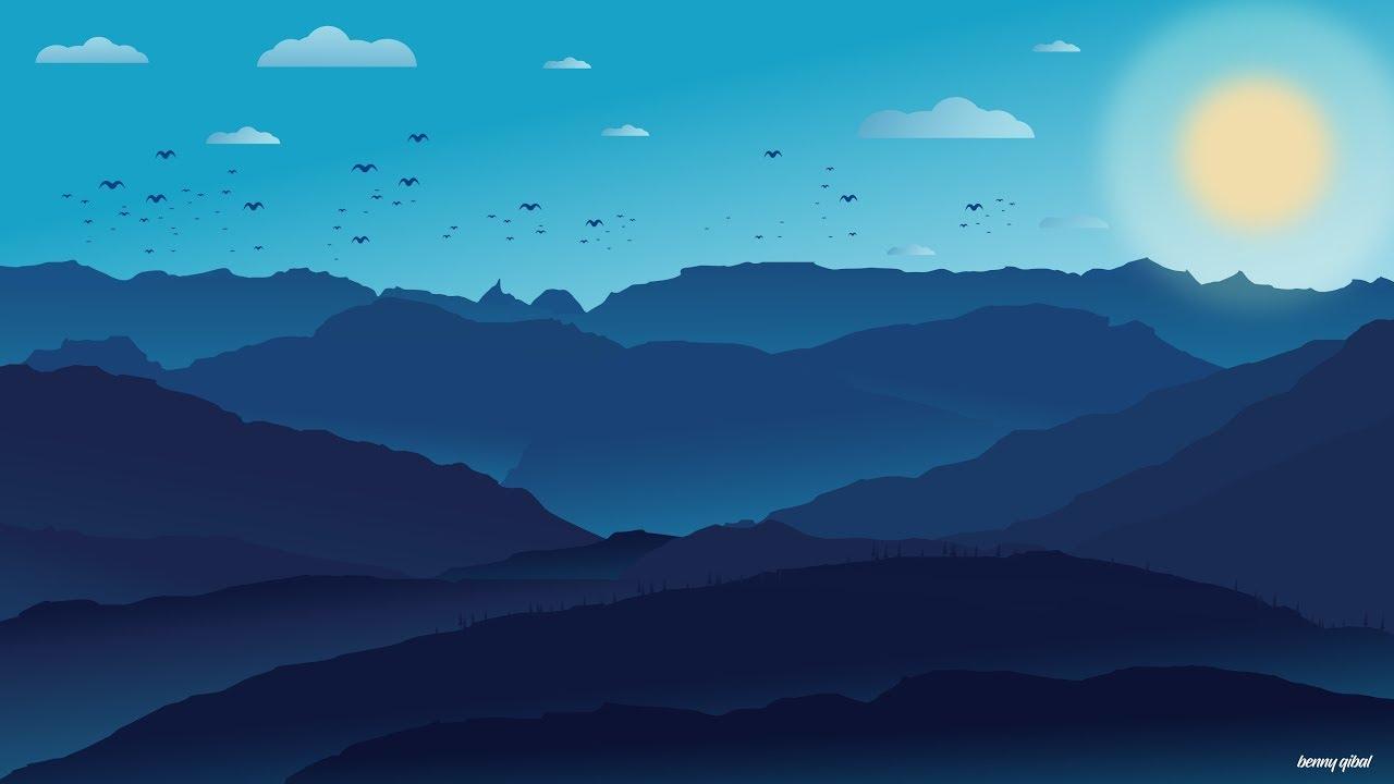 Town Landscape Vector Illustration: Vector Landscape Speedart Adobe Illustrator