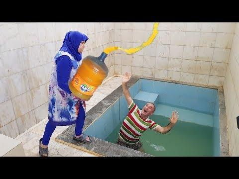 BATH POOL GIANT FANTA PRANK! Kerem's Head Were Pumping Huge Fanta In The Pool