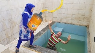 BATH POOL GIANT FANTA PRANK! Kerem's Head Were Pumping Huge Fanta In The Pool