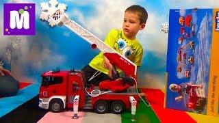 видео: Пожарная машина Брюдер распаковка играем машинкой