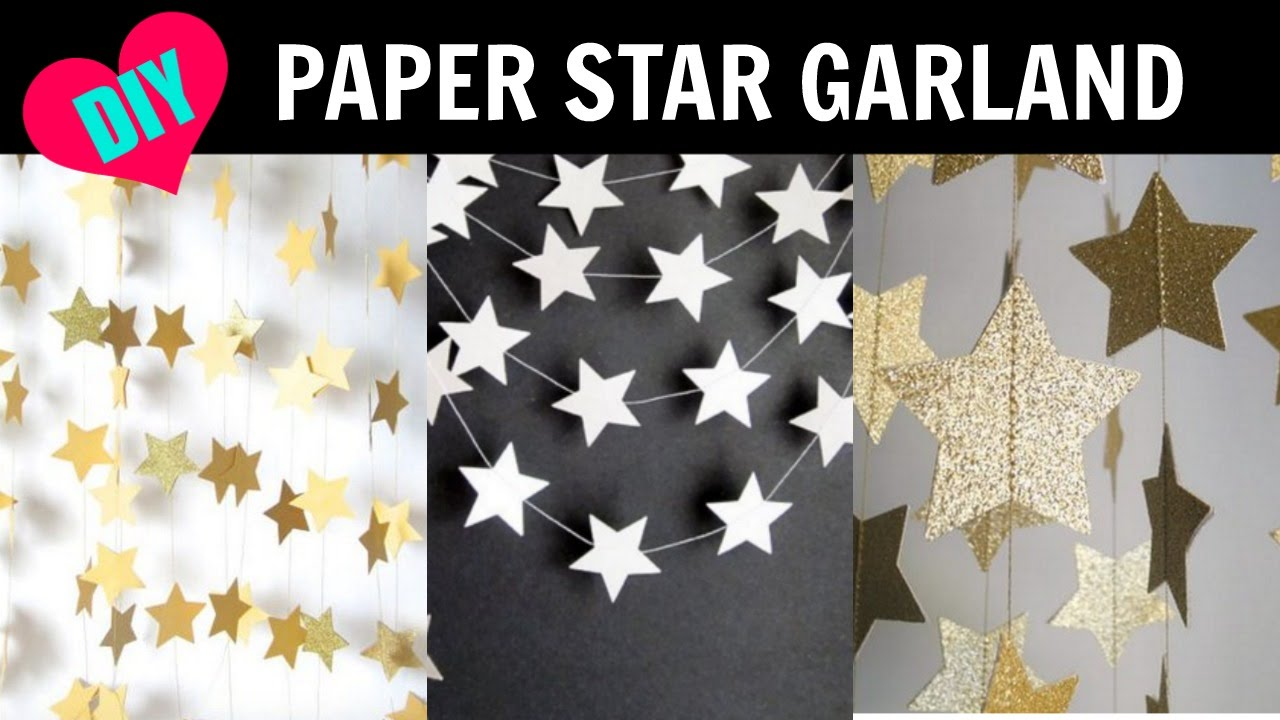 Diy star paper garland room decor youtube for Room decor out of paper