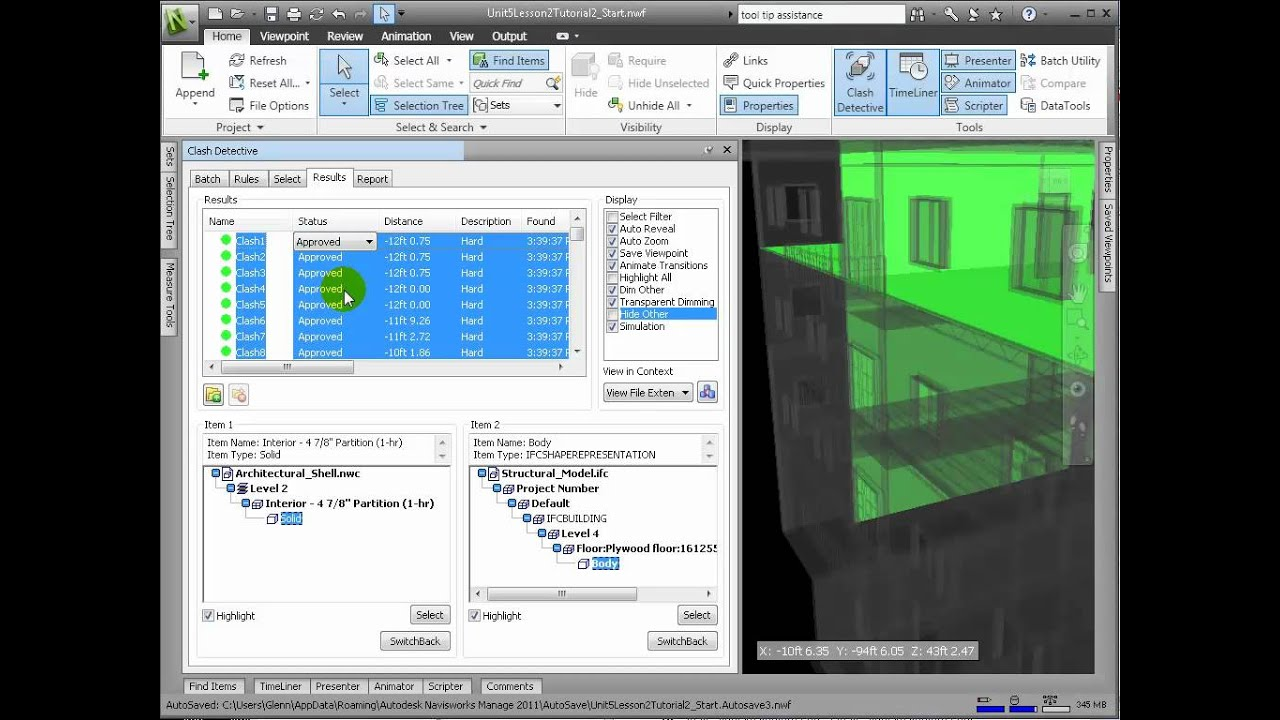 Navisworks Manage - Performing Clash Detection
