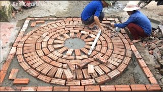 Use The Bricks To Build A Beautiful Picture For The Entrance To The House - Great Idea Wall Creation