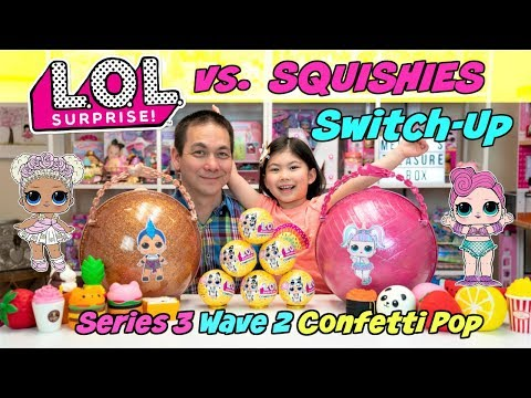 SERIES 3 WAVE 2 LOL SURPRISE CONFETTI POP VS. BANGGOOD SQUISHIES! LUNCH BOX SWITCH UP CHALLENGE!