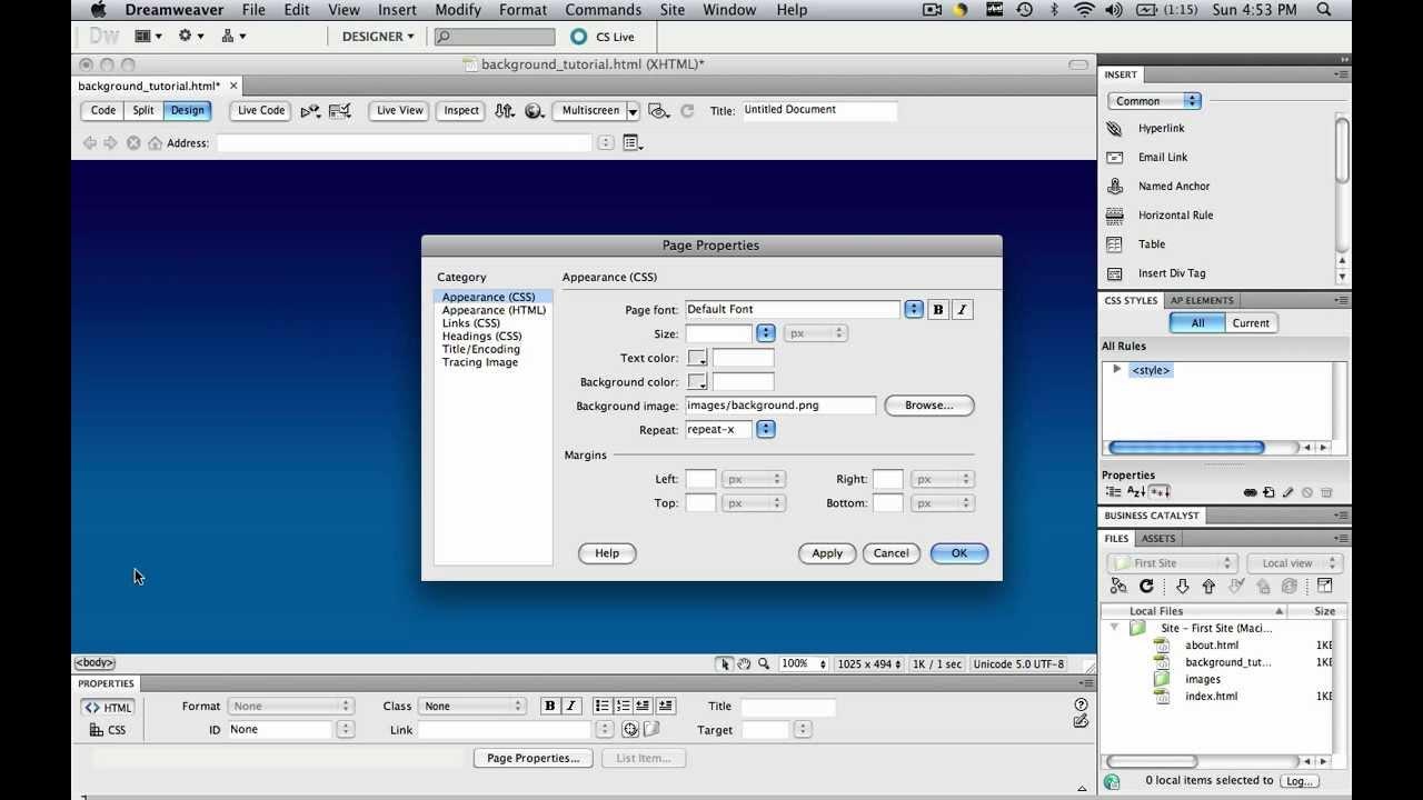 Background image dreamweaver - Dreamweaver Tutorial Background 04 Add A Gradient Background