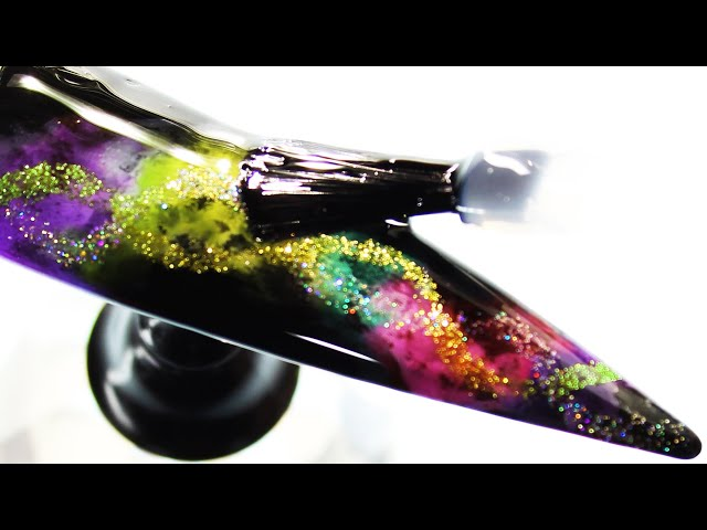 How To Create Rainbow Coloring Glitter Smokey Water Nail Art Design (Part 2)