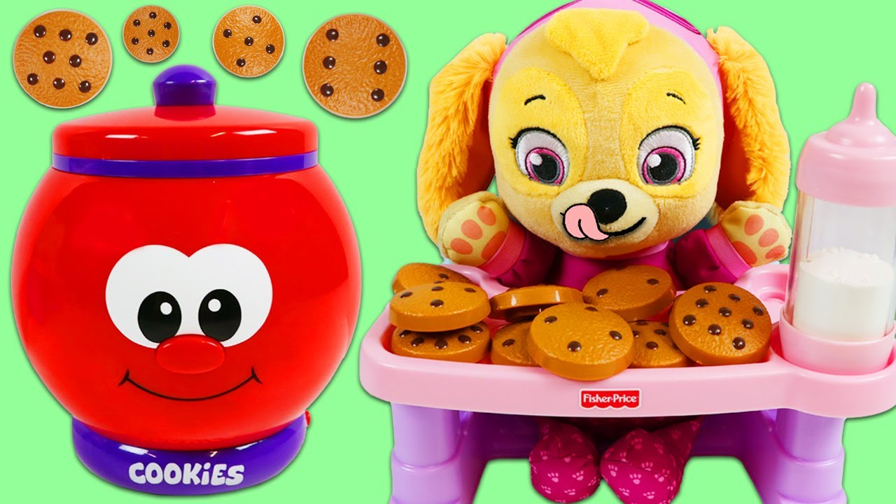 Download Paw Patrol Baby Skye Plays with Talking Count and Learn Cookie Jar Playset!