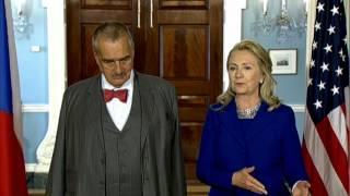 Secretary Clinton Meets With Czech Republic Foreign Minister Karel Schwarzenberg