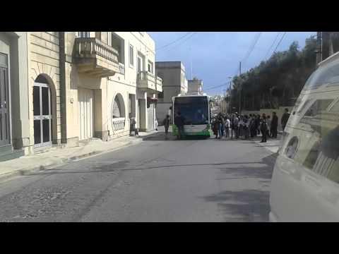 Tourist blocks bus in Marsaxlokk