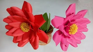 how to make paper flowers easy | flower crafts with paper | stick flower