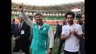 Mohamed Salah poses with Chechen leader Ramzan Kadyrov in Russia