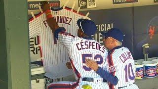 PHI@NYM: Fernandez's jersey hung at Citi Field