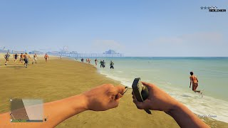 Killing People With Grenades At The Beach | GTA 5 Online