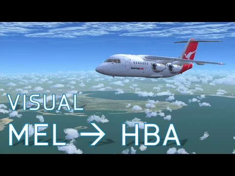FSX Visual Melbourne to Hobart | No Autopilot | Qantas 146-200