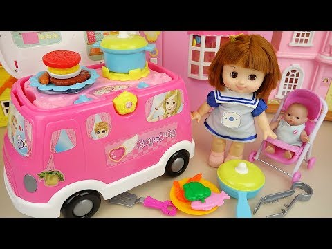 Baby doll camping kitchen car  play baby Doli learn cooking