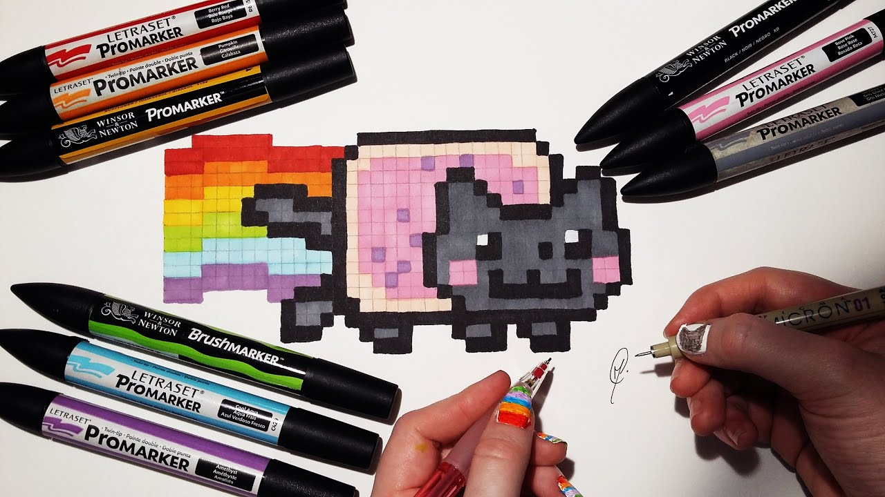 how to draw nyan cat - easy pixel art