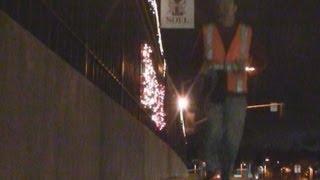 "Huge ""Obama Sucks"" Christmas Display on Freeway Overpass"