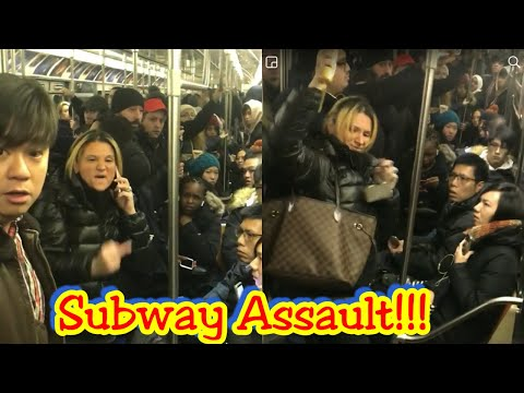 Racist Woman Kicking, Spitting and Hitting Asian Girl on Nyc Subway train!!! Public Freakout!!!