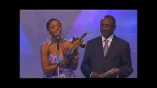 Chindinma receiving her Award of Best Female Artist From Western Africa at Kora Awards 2012