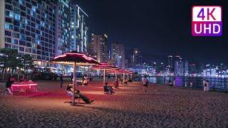 【4K UHD】 KOREA WALK - too Hot? Cool breeze Gwangalli Beach, Busan. Cool Waves ASMR fireworks.