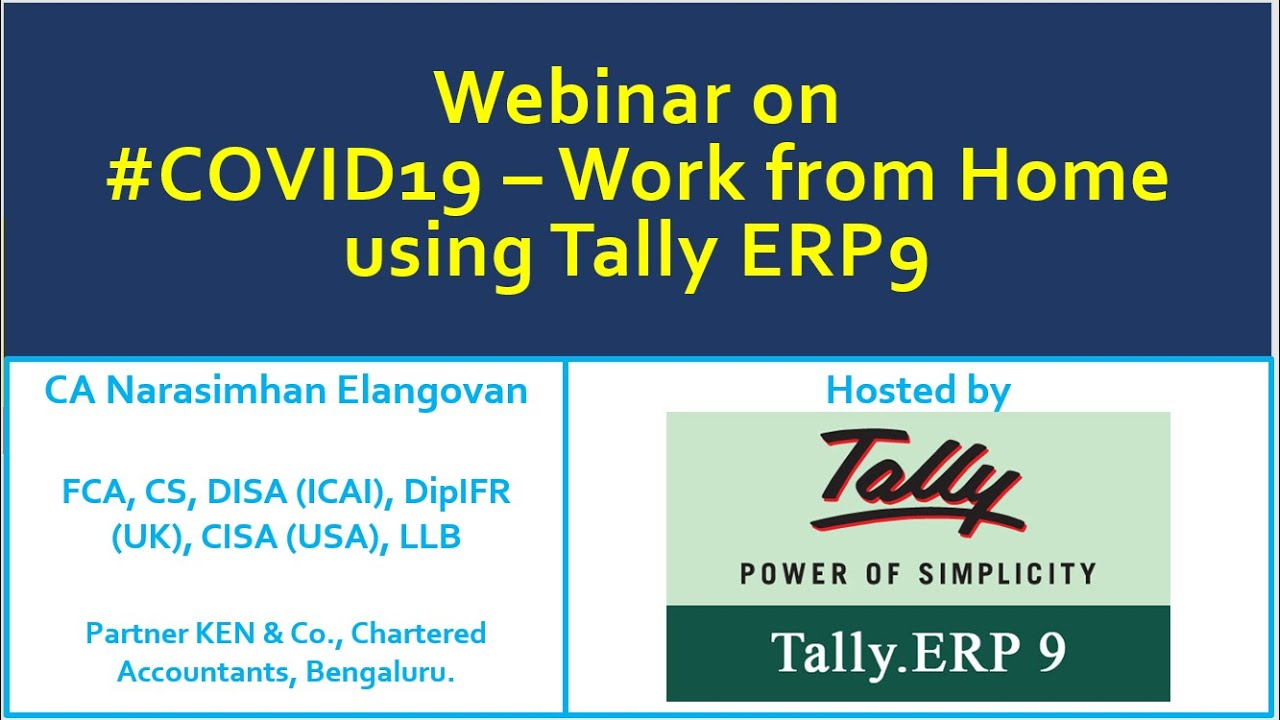 Work From Home Using Tally Erp9 Youtube
