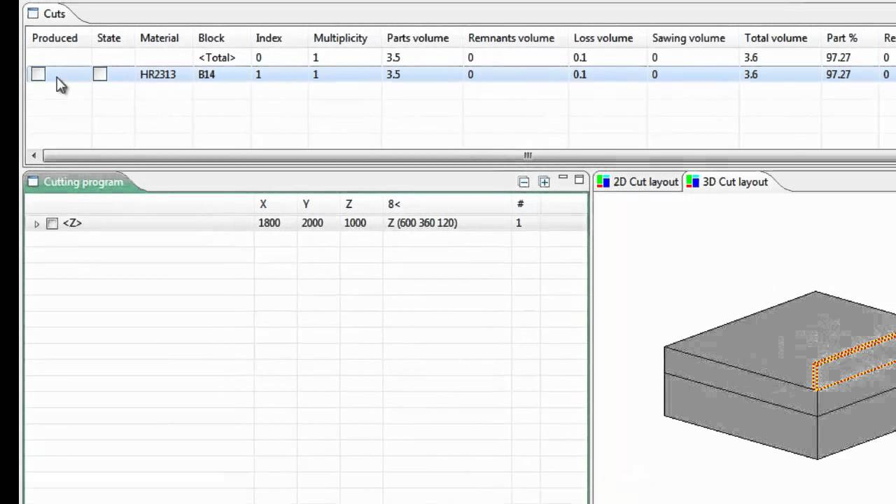 3D nesting software for volume cutting