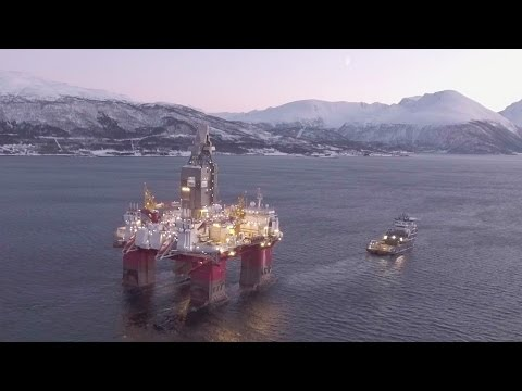 Oil rig filmed with drone in Norway