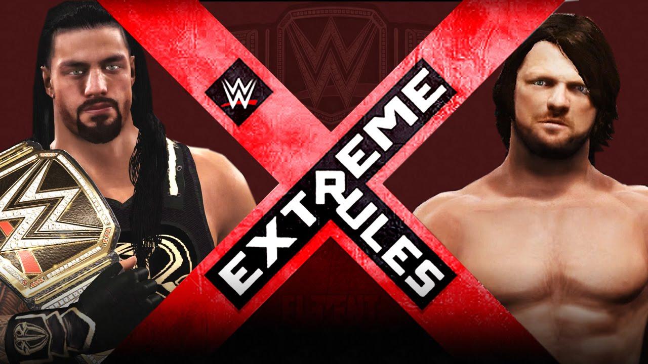 Wwe extreme rules 2016 roman reigns vs aj styles wwe championship wwe 2k16