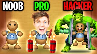 Can We Go NOOB vs PRO vs HACKER In KICK THE BUDDY!? (ALL NEW WEAPONS!)