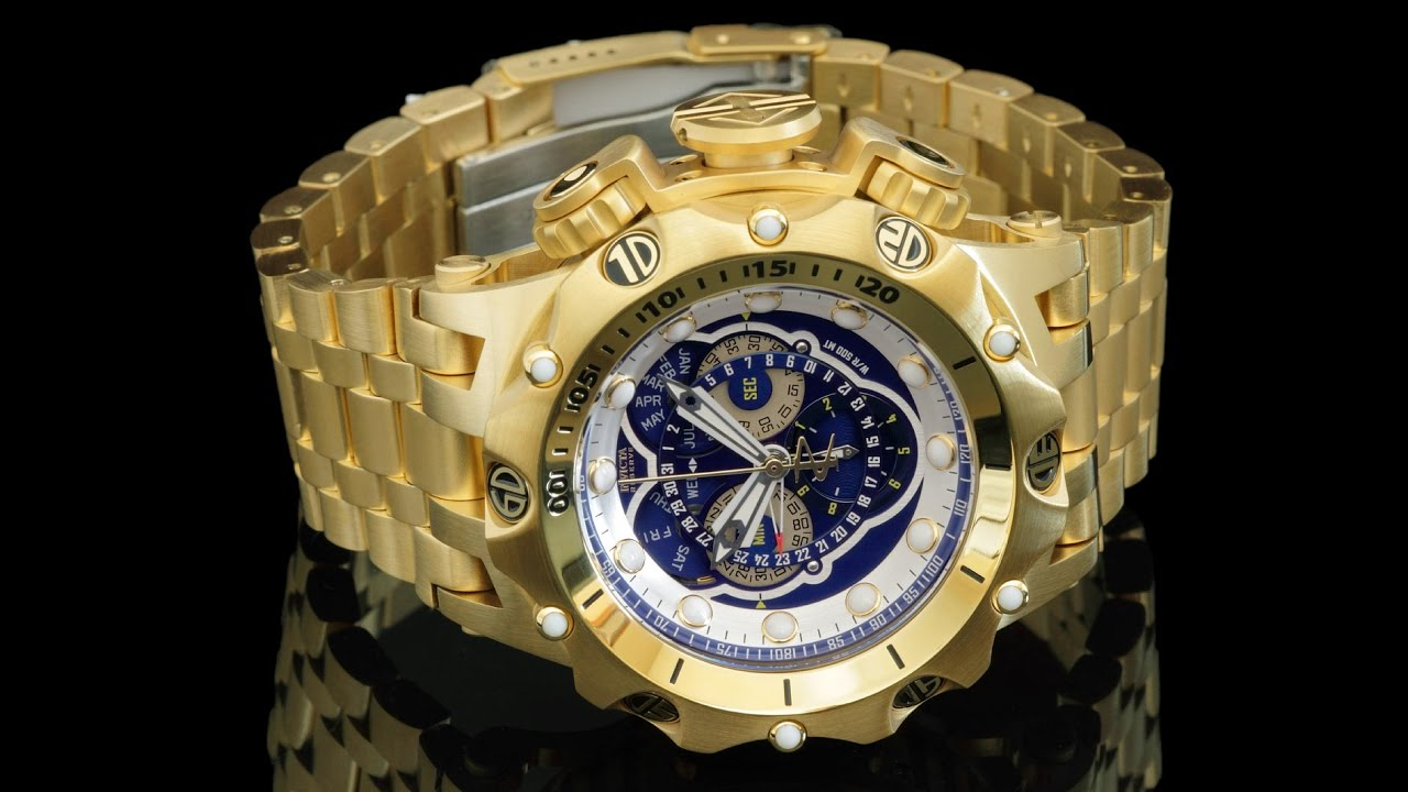 656342b1166 Invicta venon hybrid gold plated swiss master calendar chronograph bracelet  watch jpg 1280x720 Invicta watches venom