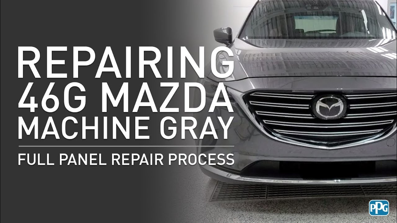 PPG Mazda 46G Machine Gray Full Panel Repair Process (Part 2)