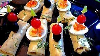 Закуска с сыром. Сырные рулетики с грибами