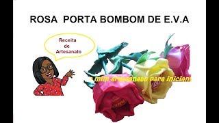 Rosa porta bombom em E.V.A