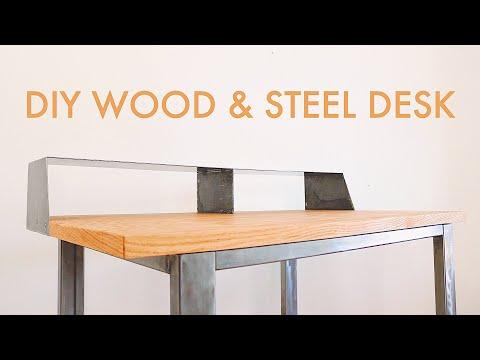 How to Build a CUSTOM Wood & Steel DESK // #diy #woodworking & #welding