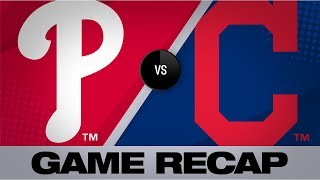 mercado reyes puig mash in 10 1 win phillies indians game highlights 92219